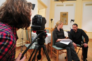 Caroline Reiher vom ZDF und Michael Kirchschlager im Gespräch
