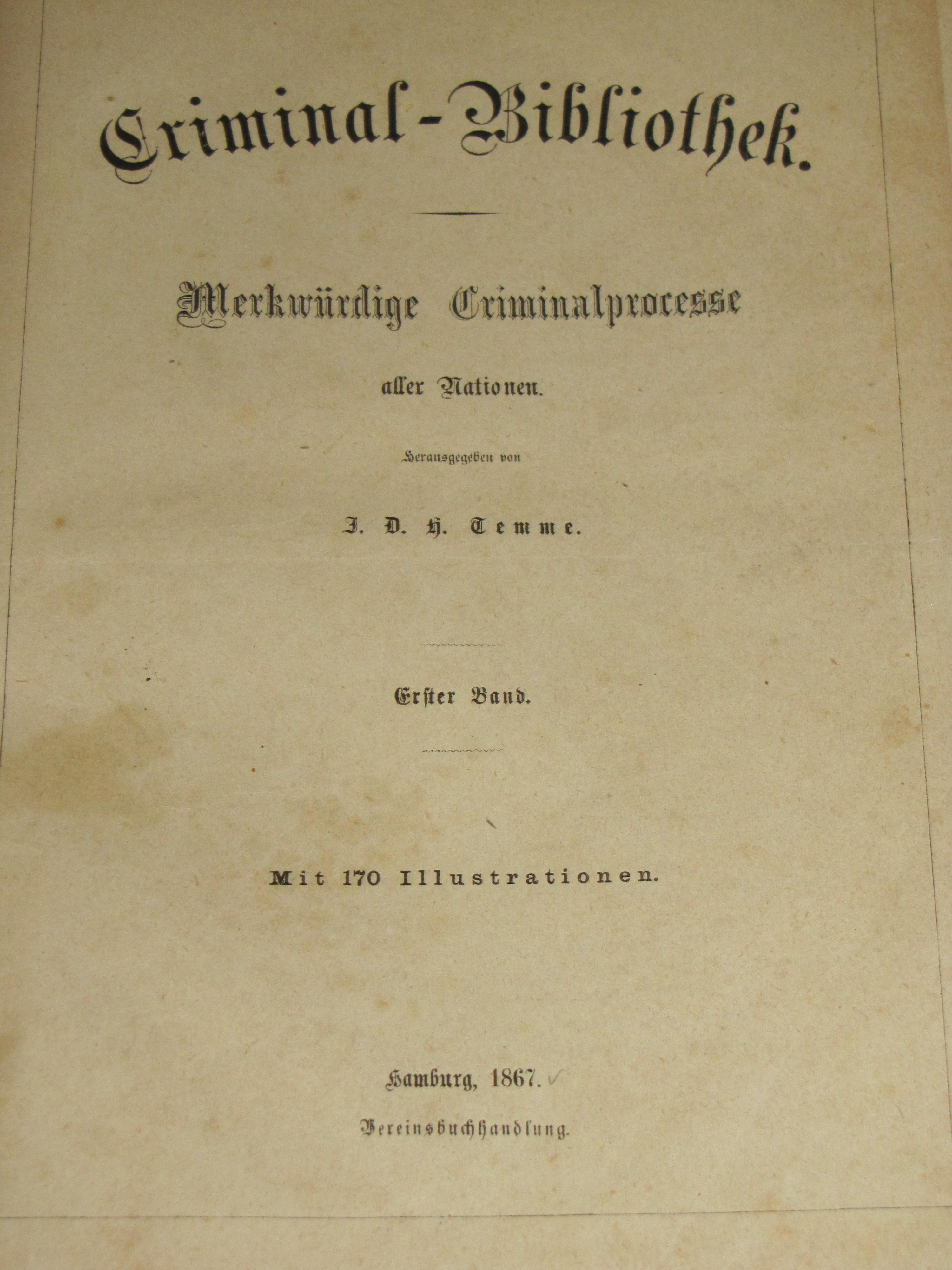 Criminal-Bibliothek, Band I aus der Sammlung Kirchschlager